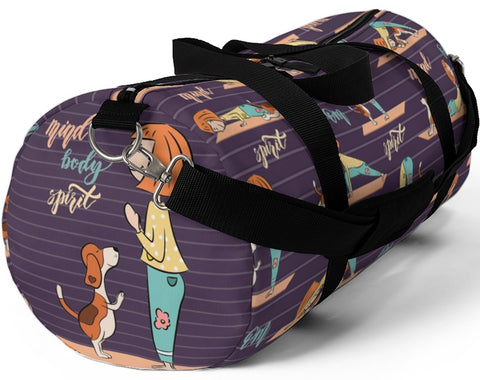 Yoga Girl and Dog Custom Duffle Bag - Gym Bag - Choice of Background Colors/Patterns - Daisey's Doggie Chic