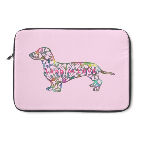 Laptop Sleeve Case - Dachshund Long on LOVE - Color Light Pink - Personalize Free - Daisey's Doggie Chic