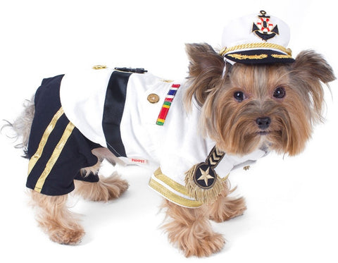 Admiral Deluxe Yachting Dog's Costume With Hat - Daisey's Doggie Chic