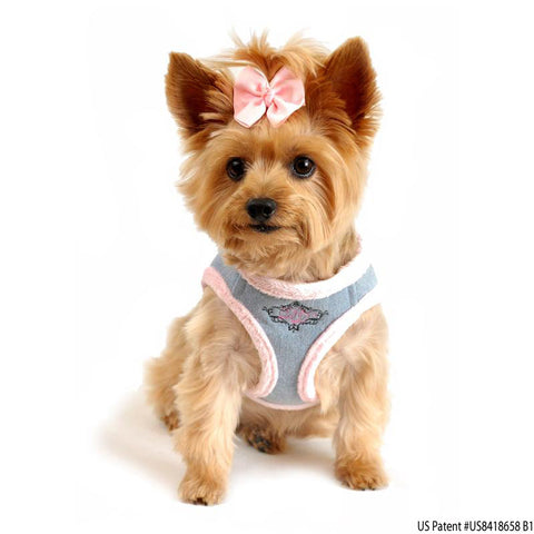 "American River ""Washed Denim Jean Pink Minky Plush"" Ultra Choke Free Step-in Harness Vest - Daisey's Doggie Chic"
