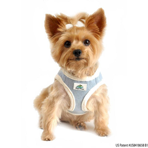 "American River ""Washed Denim Jean Cream Minky Plush"" Ultra Choke Free Step-in Harness Vest - Daisey's Doggie Chic"