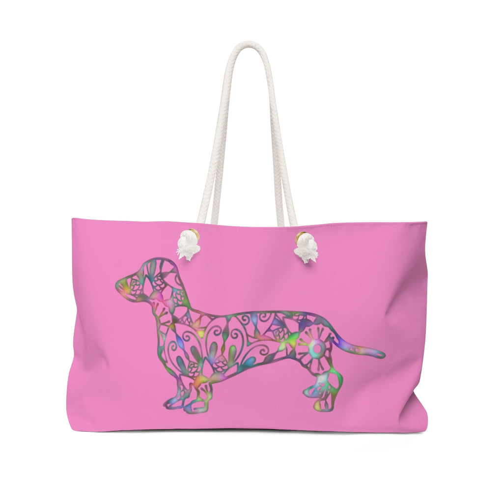 A Dachshund Weekender Bag - Color Fushia - Oversized Tote – Free Personalization - Daisey's Doggie Chic