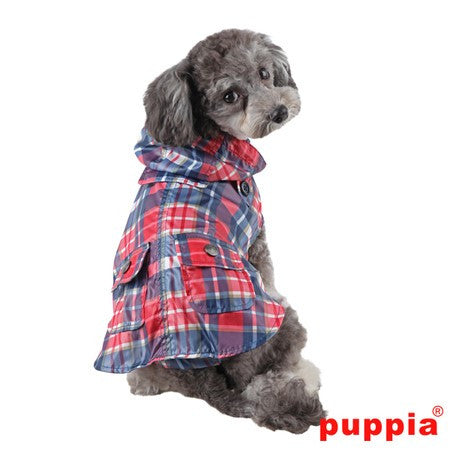 "Puppia ""Barrington Hooded Cape Raincoat""  in color Navy Plaid - Daisey's Doggie Chic"