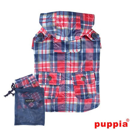 "Puppia ""Barrington Hooded Cape Raincoat""  in color Navy Plaid - Daisey's Doggie Chic - 1"