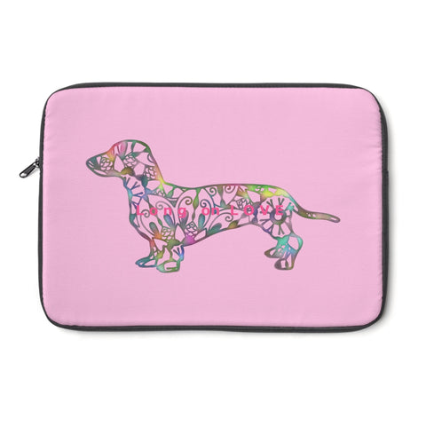 Laptop Sleeve Case - Dachshund Long on LOVE - Color Bubblegum Pink - Personalize Free - Daisey's Doggie Chic