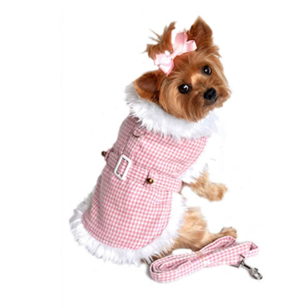 Pink Houndstooth Minky Fur Harness Jacket with Matching Leash in color Pink/White - Daisey's Doggie Chic