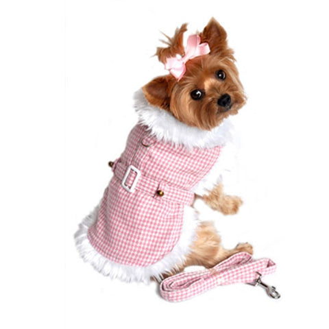 Pink Houndstooth Faux Minky Fur Harness Jacket with Matching Leash in color Pink/White - Daisey's Doggie Chic