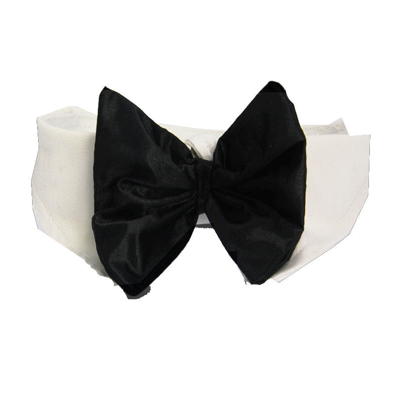Holiday Formal Black Satin Bow Tie and Dress-up Collar - Daisey's Doggie Chic
