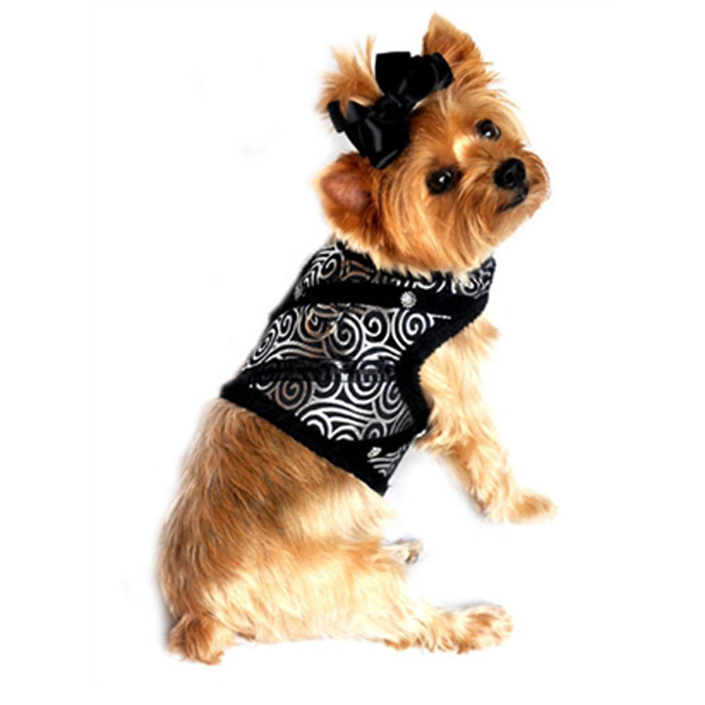 "Doggie Design ""Black Silver Brocade"" Jeweled Plush Minky Fur Harness Vest with matching Leash - Daisey's Doggie Chic"