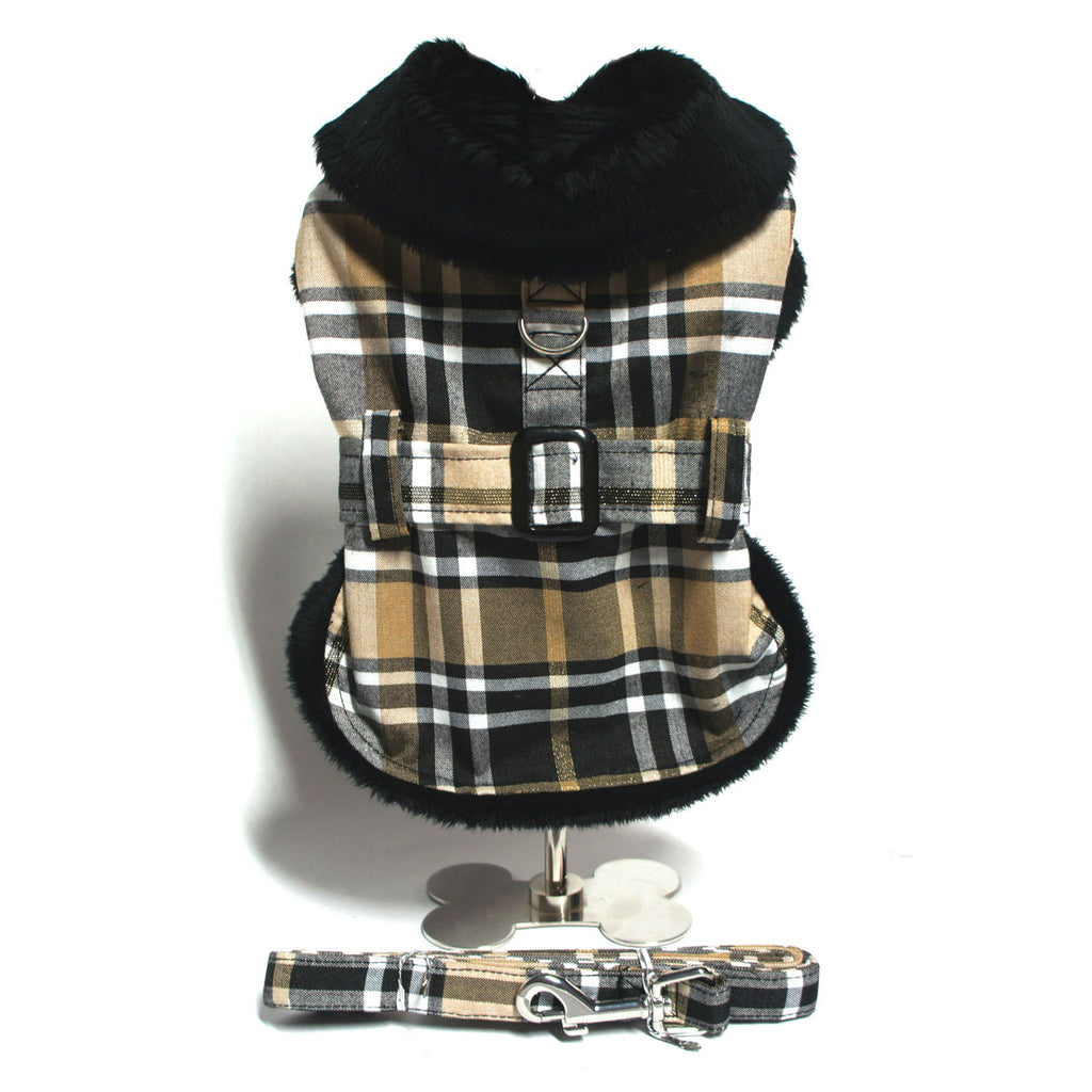 Doggie Design Plaid Minky Fur Harness Jacket with Matching Leash in color Brown Plaid - Daisey's Doggie Chic
