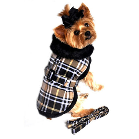 Doggie Design Plaid Faux Minky Fur Harness Jacket with Matching Leash in color Brown Plaid - Daisey's Doggie Chic
