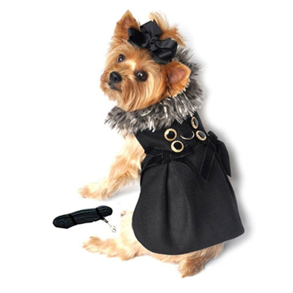 Elegant Wool w/Silver Minky Fur Harness Jacket with Matching Leash in color Black/Silver - Daisey's Doggie Chic