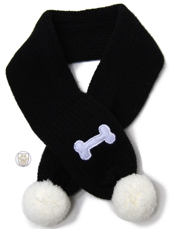 Bone Themed Knit Scarf for Dogs Color Black/White - Daisey's Doggie Chic