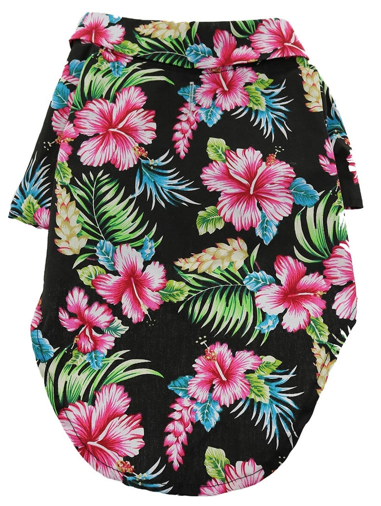 Camp Shirt in color Hawaiian Hibiscus Black Floral - Daisey's Doggie Chic