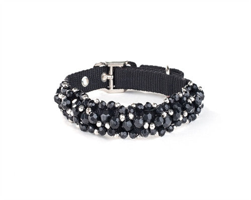 Scrumptiously ''Fabuleash'' Bling Beaded Collar in color Jet Black - Daisey's Doggie Chic