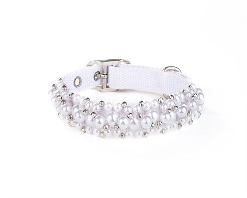 Scrumptiously ''Fabuleash'' Bling Beaded White Pearl Collar in color White - Daisey's Doggie Chic