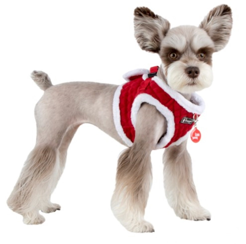 Blitzen Quilted Plush Jacket Vest Harness - in Color Santa's Red - Daisey's Doggie Chic