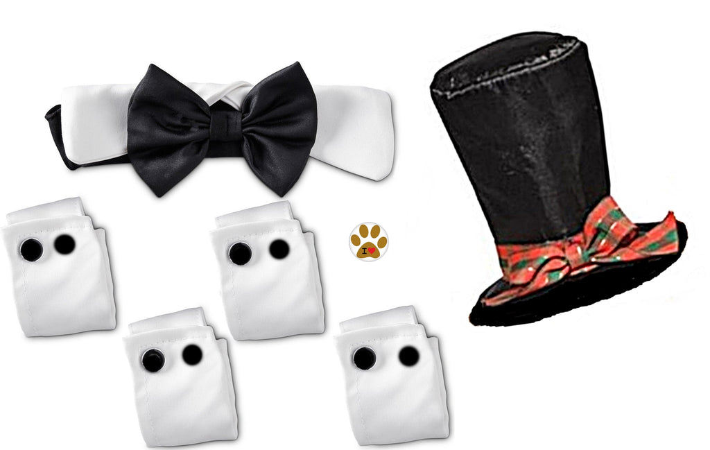 Formal Black Satin Bow Tie Tux Collar with Cuffs and Caroler's Hat - Daisey's Doggie Chic