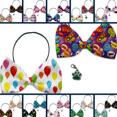 Fun Party Themed Bowtie 2-Pack set with Charm Accessory for dogs or cats - Daisey's Doggie Chic