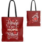 Carryall Tote Bag - House not a Home Without Paw Prints - 2-Sided Design - Brick Red  - in Sizes S,M,L - Personalize it Free - Daisey's Doggie Chic