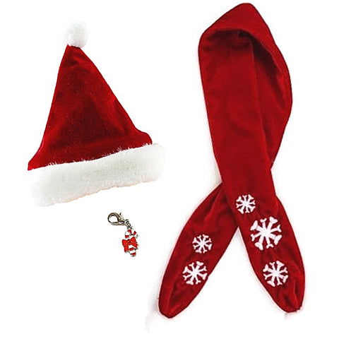 Red Velvet Santa Hat and Snowflake Scarf set with Candy Cane Charm - Dog Sizes S to L - Daisey's Doggie Chic