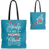 Carryall Tote Bag - House not a Home Without Paw Prints - 2-sided theme  - in Sizes S,M,L - Bright Blue - Personalize it Free - Daisey's Doggie Chic