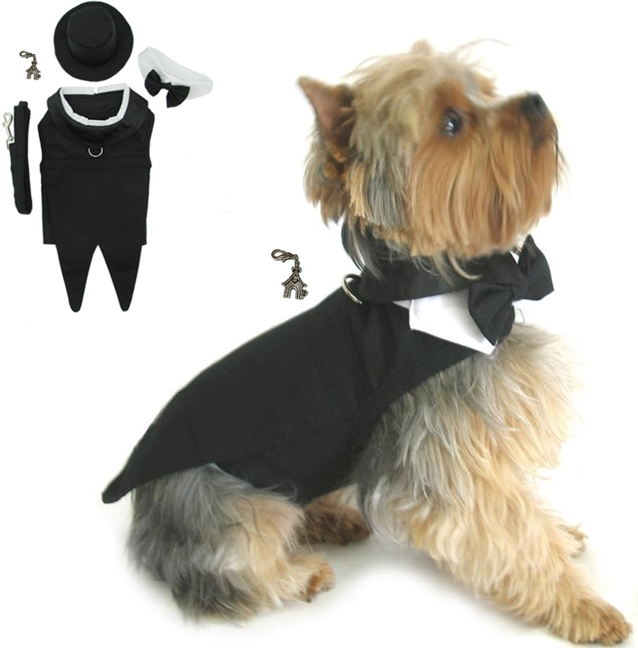 Formal Black Tails Tuxedo with Top Hat & Charm - Wedding Suit Harness Set - Daisey's Doggie Chic