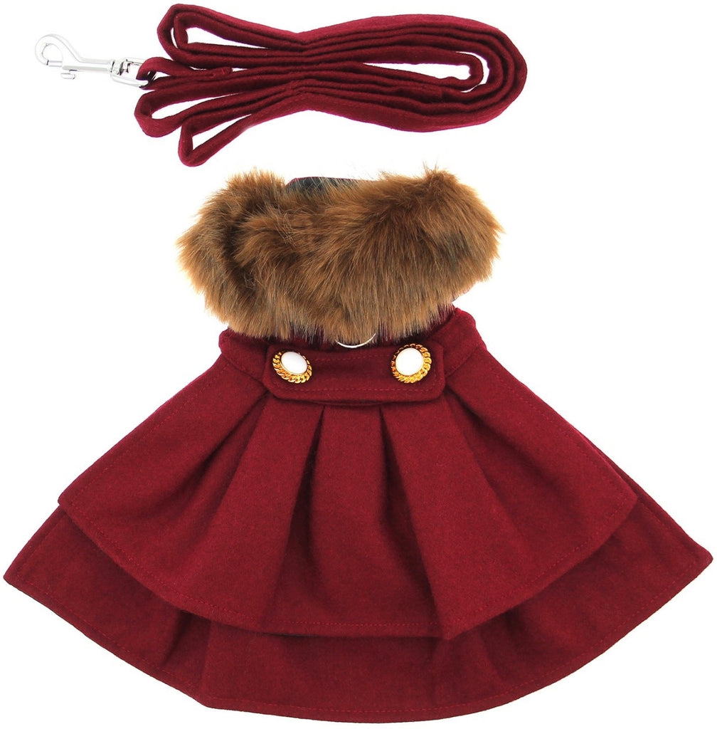 Victorian Elegance Wool & Minky Fur Harness Jacket with Matching Leash in color Burgundy - Daisey's Doggie Chic