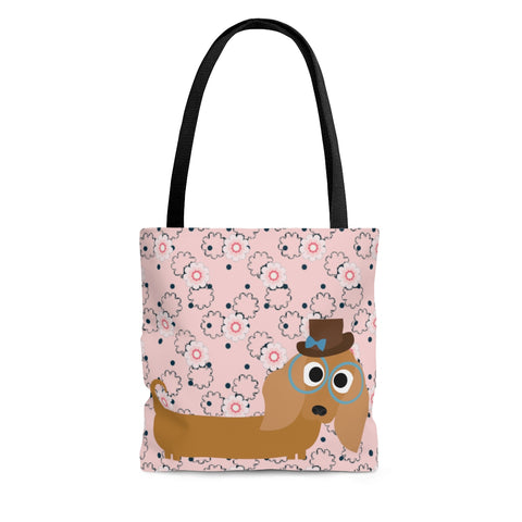 Light Pink Mini Flower DACHSHUND Tote Bag - Daisey's Doggie Chic