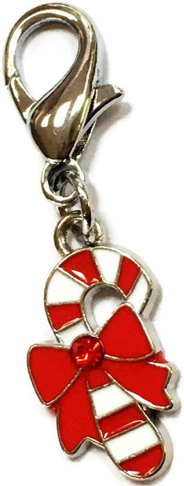 Candy Cane Gem Centered Clip Charm in color Holiday Red Stripe - Daisey's Doggie Chic