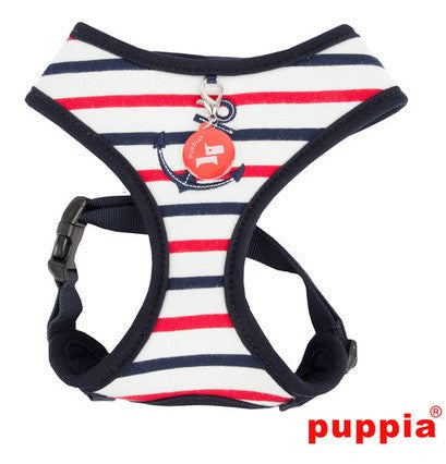 "Puppia ""Capitane"" Navy Blue Choke-Free Halter Harness with Smart Tag - Daisey's Doggie Chic"
