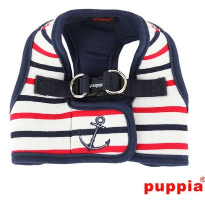 "Puppia ""Capitane Anchor"" Nautical Choke-Free, Step-in Harness Vest Jacket with Smart Tag- Choice of  Blue or Red - Daisey's Doggie Chic"
