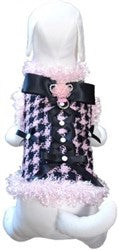 All About Business Houndstooth Dress Coat Harness in color Pink/Black - Daisey's Doggie Chic - 1