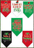 Christmas Holiday Party Bandana Scarf Set with Themed Charm Accessory - Variety of Fun Themes - Daisey's Doggie Chic