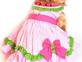 "Doggie Design  ""Watermelon"" Pink Polka Dot Harness Party Dress in Pink multi - Daisey's Doggie Chic"