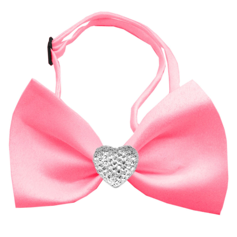 Classic Crystal Heart Satin Bow Tie for Small Dogs in Color Bubble Gum Pink - Daisey's Doggie Chic - 1