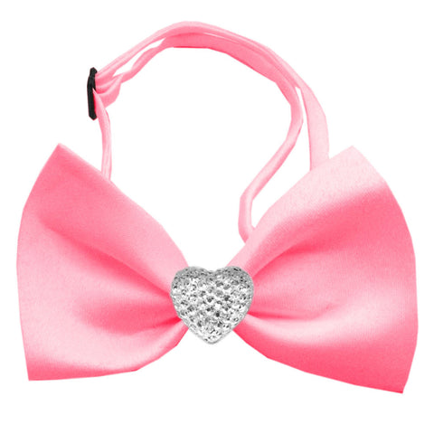 Classic Crystal Heart Satin Bow Tie for Small Dogs in Color Bubble Gum Pink - Daisey's Doggie Chic