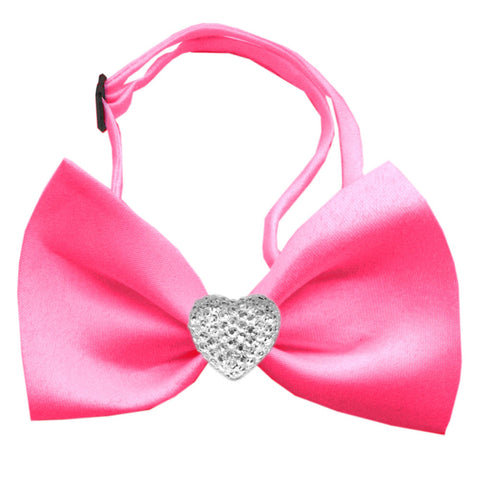 Classic Crystal Heart Satin Bow Tie for Small Dogs in Color Hot Pink - Daisey's Doggie Chic