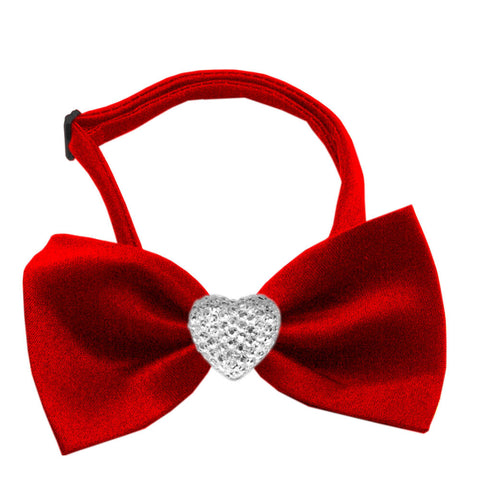 Classic Crystal Heart Satin Bow Tie for Small Dogs in Color Red - Daisey's Doggie Chic