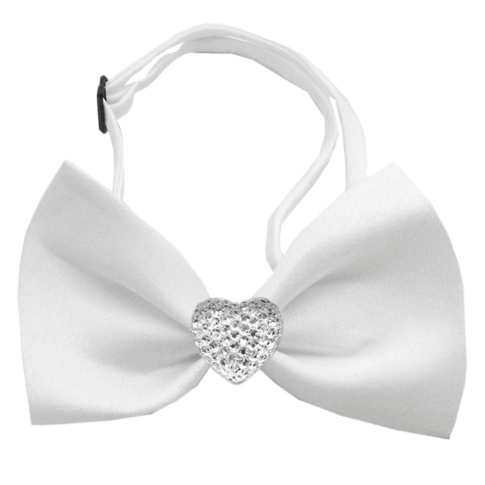 Classic Crsytal Heart Satin Bow Tie for Small Dogs in Color White - Daisey's Doggie Chic