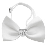 Classic Crsytal Heart Satin Bow Tie for Small Dogs in Color White - Daisey's Doggie Chic - 1