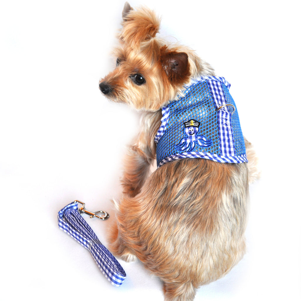 """Under The Sea"" Octopus Boy Cool Mesh Velcro Harness Vest and matching Leash Set - Daisey's Doggie Chic"