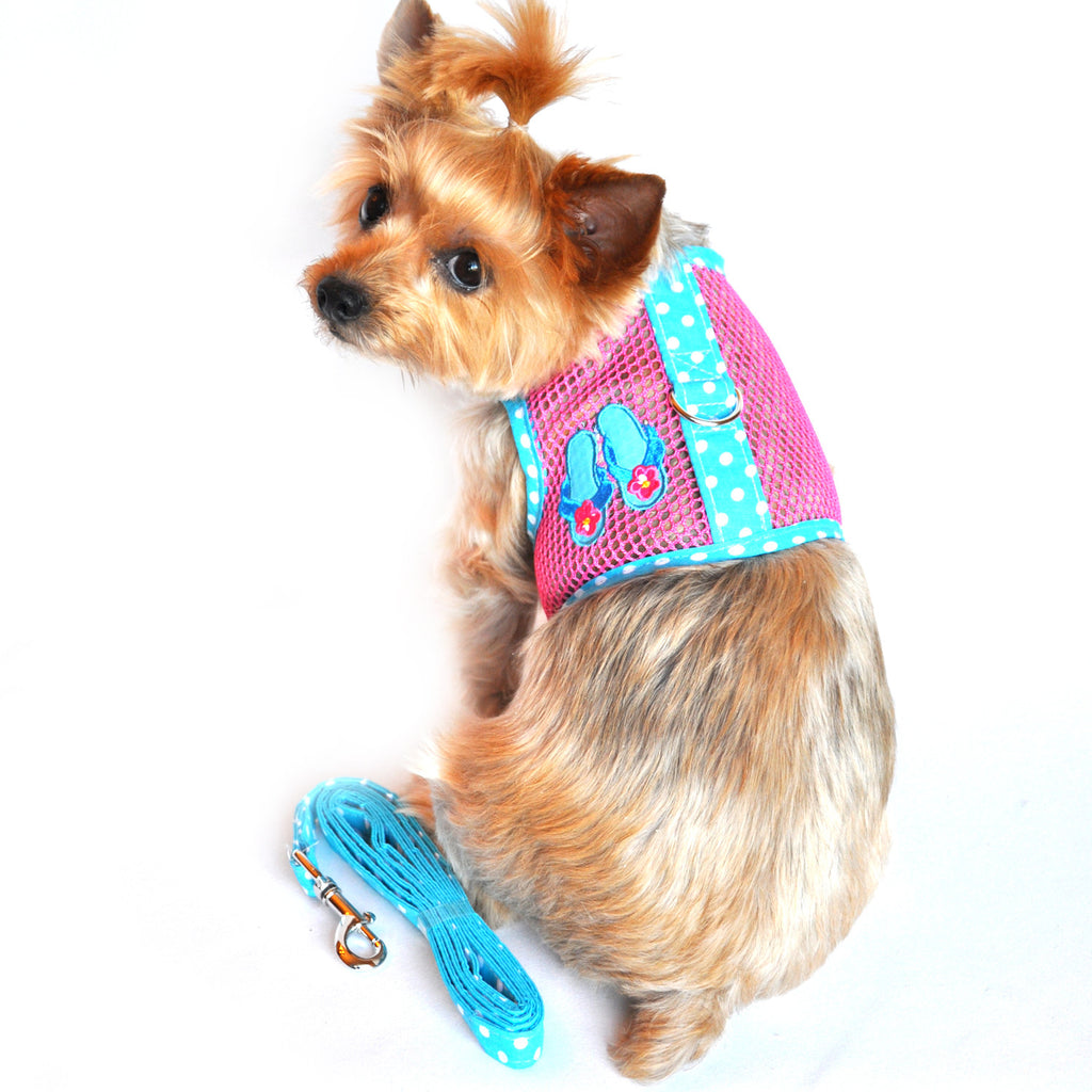 """Under The Sea"" Flip Flop Cool Mesh Harness Vest and matching Leash Set - Daisey's Doggie Chic"