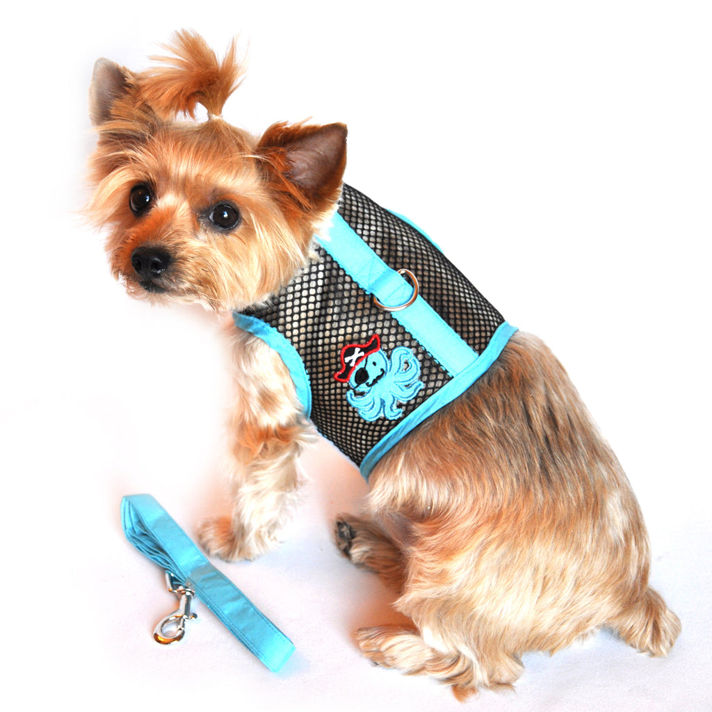 """Under The Sea"" Octopus Pirate Cool Mesh Harness Vest and matching Leash Set - Daisey's Doggie Chic - 1"
