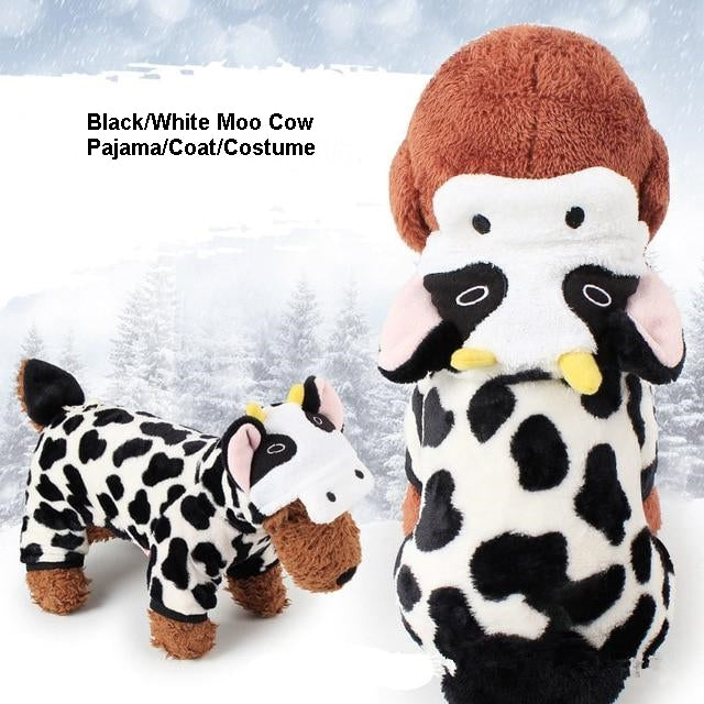 Cute Plush Moo Cow Cartoon Character Costume Pajama Coat for Dogs - Assorted Characters in 5 Sizes - Daisey's Doggie Chic