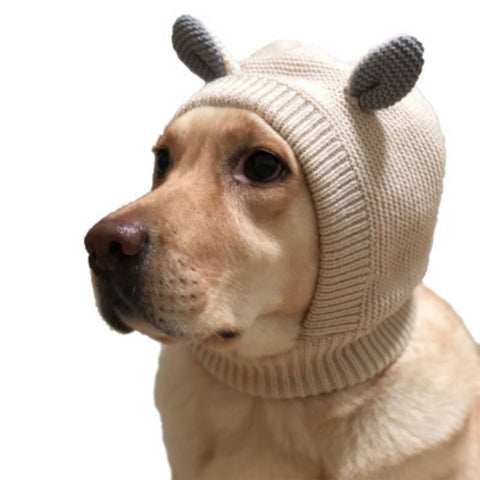 Soft Knit Snood Hat for Dogs in color Creamy Beige or Light Gray - Daisey's Doggie Chic