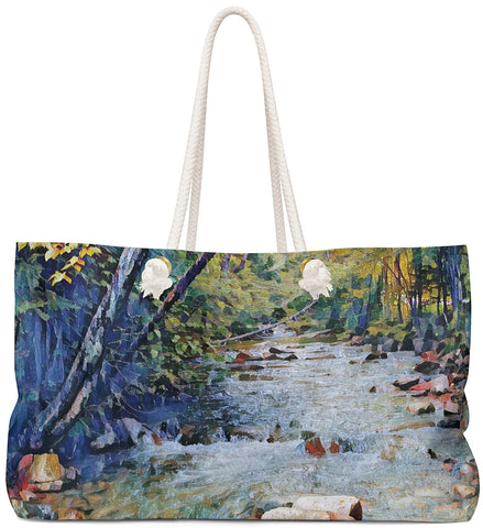 Exclusive Custom Art Tote Bag - Basin Creek Trail - Art - Painting - oversized Weekender Bags - Daisey's Doggie Chic