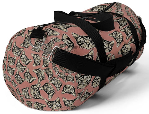 Exclusive Pet Art Duffel Bag- Cats Spirals and Swirls (shown in Cinnamon Kaleidoscope) - Choice of 9 Colors  - 2 Sizes - personalize - Daisey's Doggie Chic