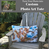 Custom Art Tote Bag Made from Photo - Illustrated Art Bag - Photo Art Bag - Choice of Tall Tote or oversized  Weekender Bag - personalize - Daisey's Doggie Chic