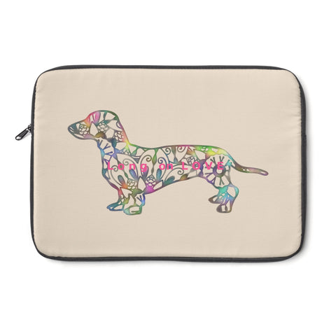 Laptop Sleeve Case - Dachshund Long on LOVE - Color Khaki -Personalize Free - Daisey's Doggie Chic